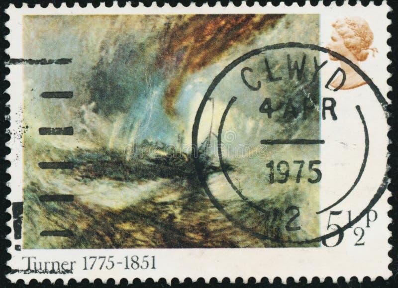 Винтажная печать напечатанная в Великобритании 1975 показывает 200th годовщину рождения тернера Иосиф Mallord Вильям стоковое фото