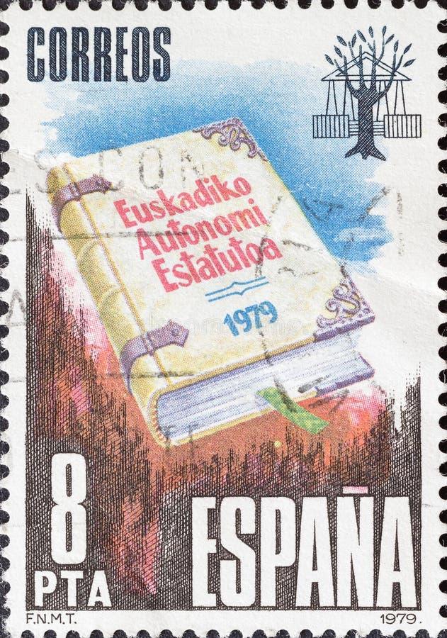 Винтажная печать напечатанная в Испании показывает законоположение автономии Басконий стоковые изображения rf
