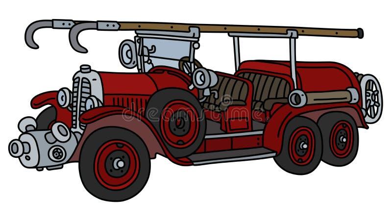 Винтажная пожарная машина иллюстрация вектора