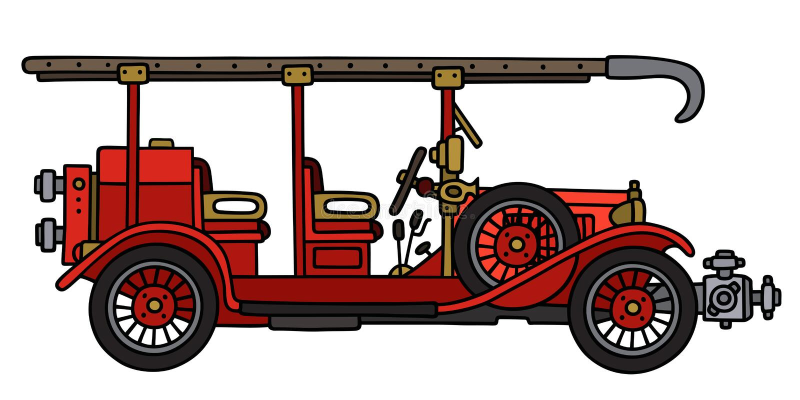 Винтажная пожарная машина бесплатная иллюстрация