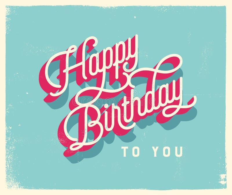 Винтажная поздравительая открытка ко дню рождения стиля - c днем рожденья желтый цвет обоев вектора уравновешивания rac померанцо иллюстрация вектора