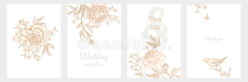 Винтажная поздравительная открытка при установленные птицы и цветки стоковое изображение rf