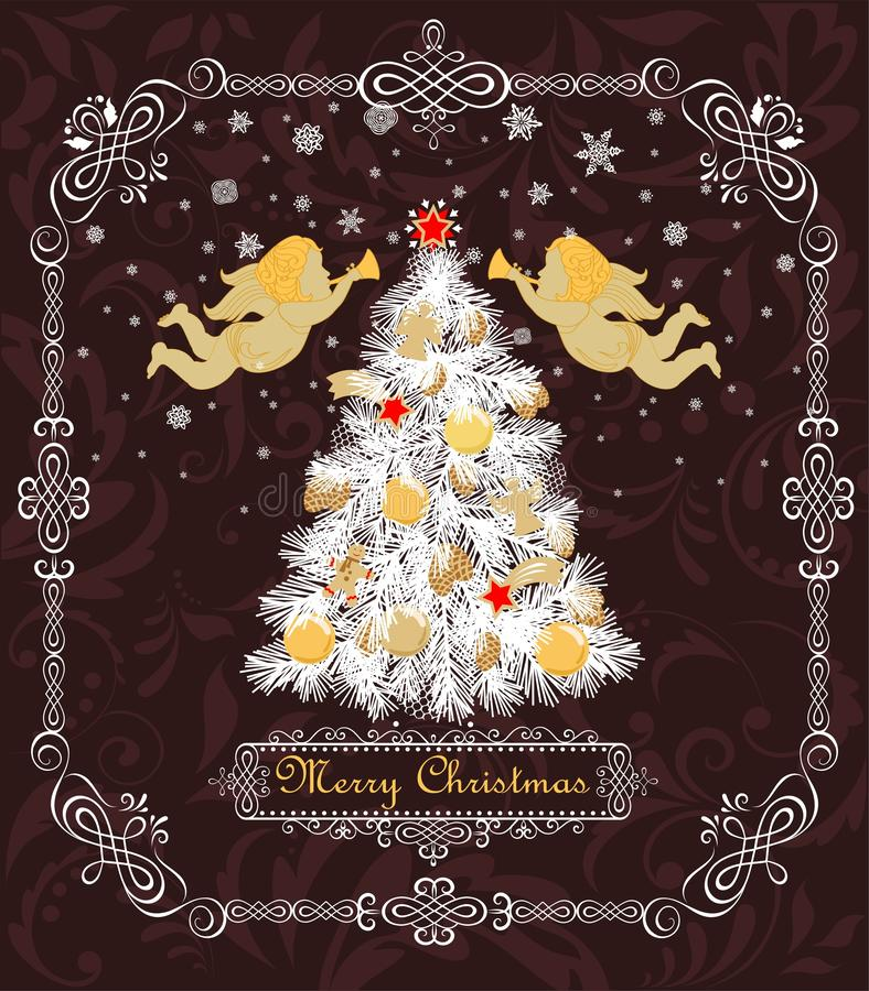Винтажная поздравительная открытка с деревом рождества белым с золотыми шариками, безделушками, печеньями, конфетой, ангелами, зв иллюстрация вектора