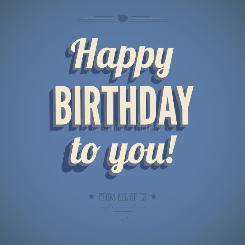 Download Винтажная поздравительая открытка ко дню рождения Иллюстрация вектора - иллюстрации насчитывающей торжество, картина: 40591549