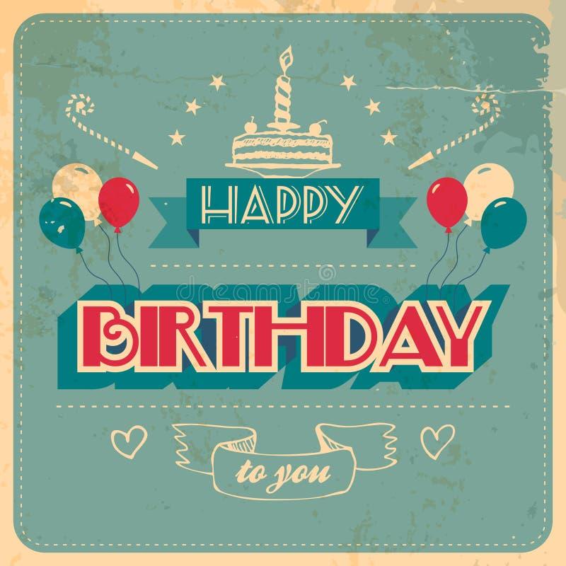 Винтажная поздравительая открытка ко дню рождения бесплатная иллюстрация