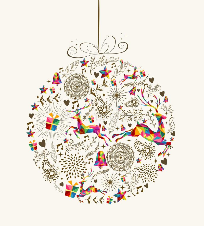 Винтажная поздравительная открытка безделушки рождества иллюстрация штока