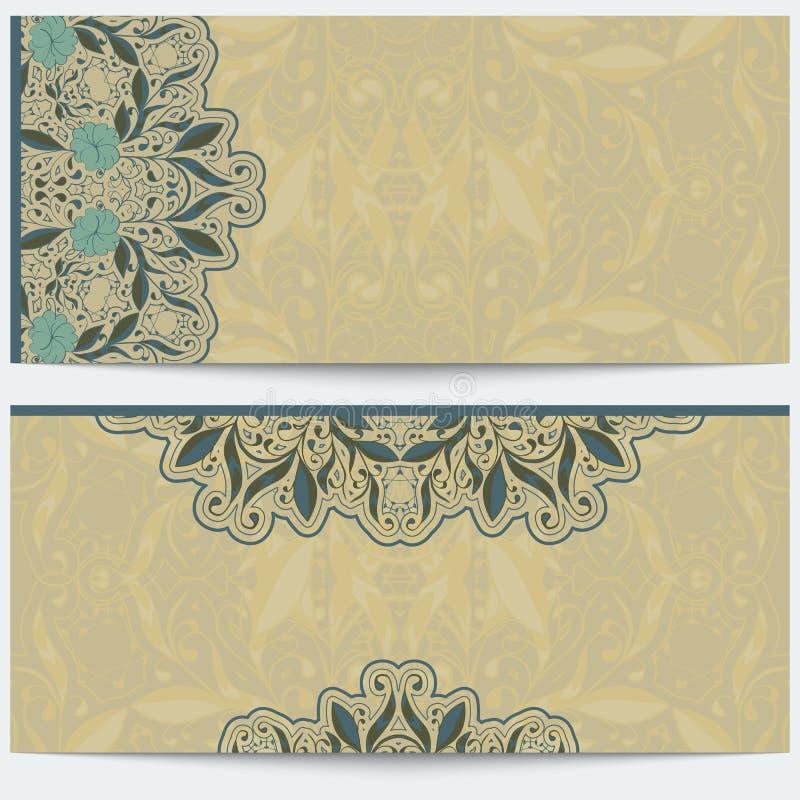 Винтажная поздравительная открытка с восточной картиной Нежный восточный орнамент на бежевой предпосылке иллюстрация штока
