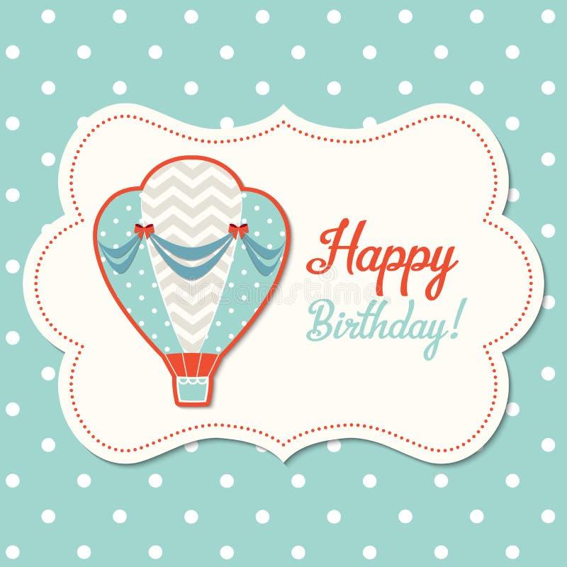 Винтажная поздравительная открытка с горячим воздушным шаром, иллюстрацией бесплатная иллюстрация