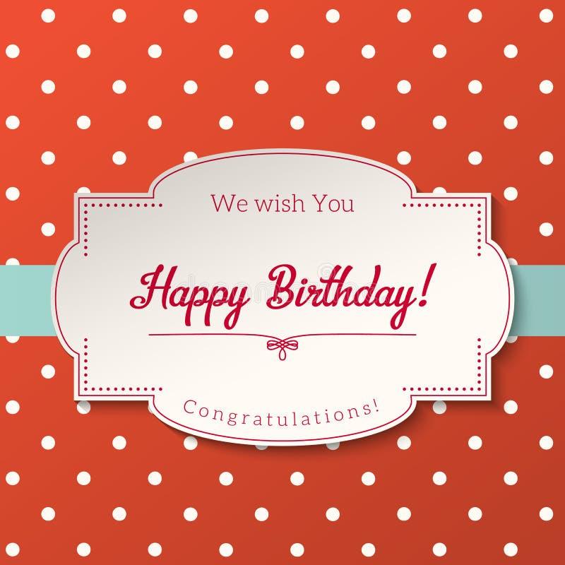 Винтажная поздравительная открытка с текстом с днем рождения, иллюстрация, иллюстрация штока