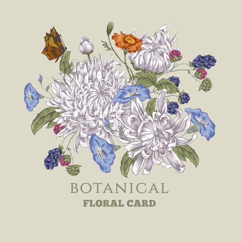Винтажная поздравительная открытка с хризантемами иллюстрация штока