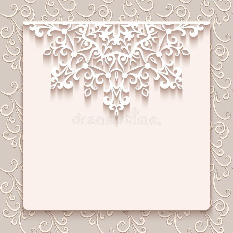 Винтажная поздравительная открытка шнурка или приглашение свадьбы иллюстрация штока