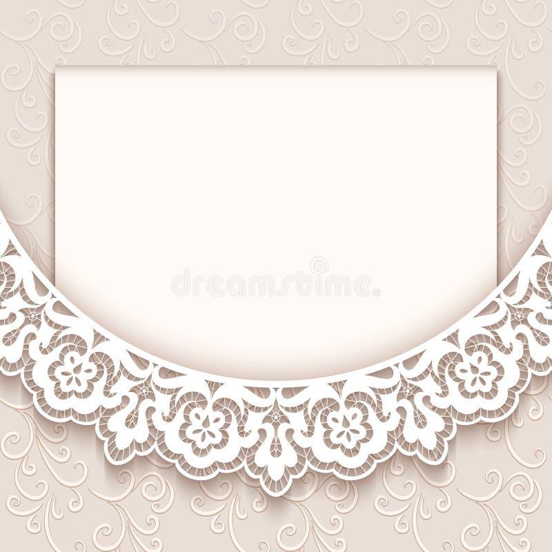 Винтажная поздравительная открытка шнурка иллюстрация штока
