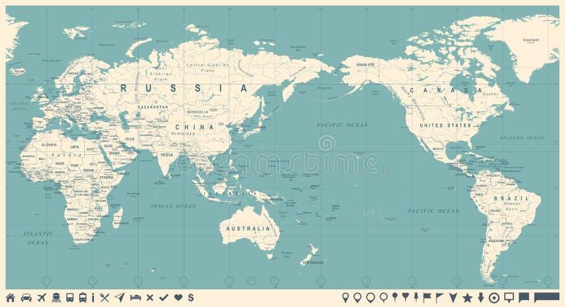 Винтажная политическая карта мира Тихий Океан центризовала иллюстрация штока