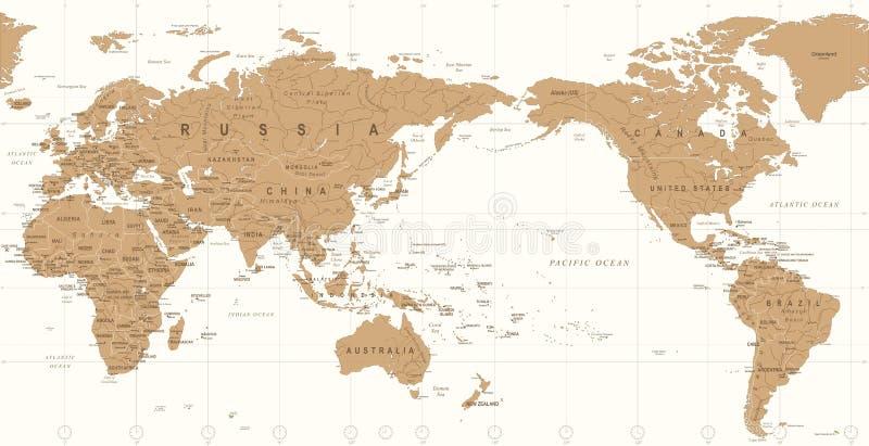 Винтажная политическая карта мира Тихий Океан центризовала иллюстрация вектора