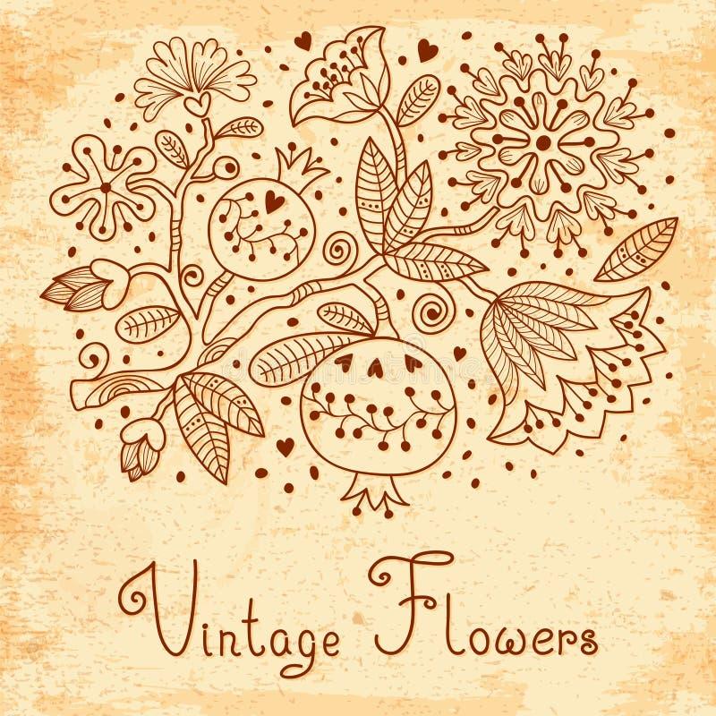 Винтажная праздничная карточка с цветками и гранатовым деревом. бесплатная иллюстрация