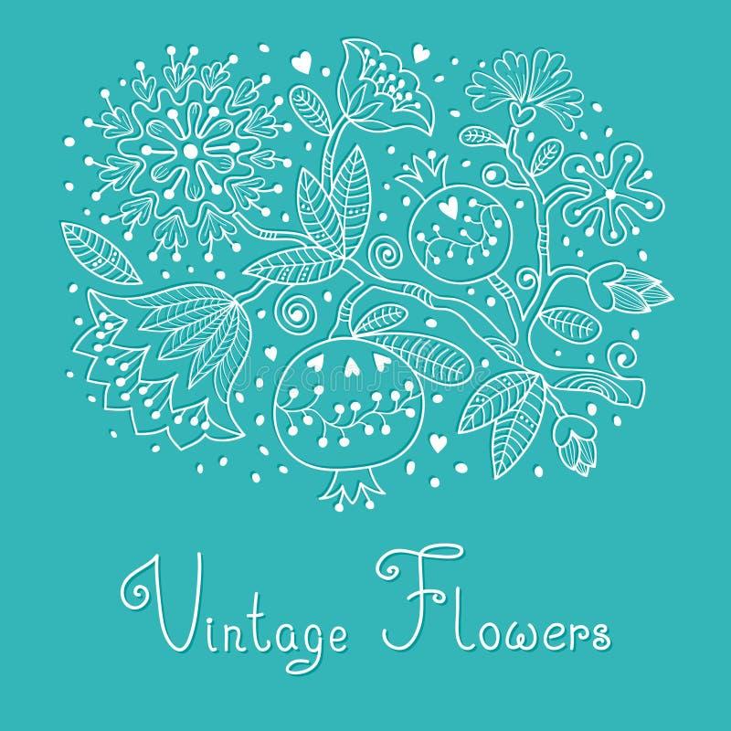 Винтажная праздничная карточка с цветками и гранатовым деревом. иллюстрация вектора