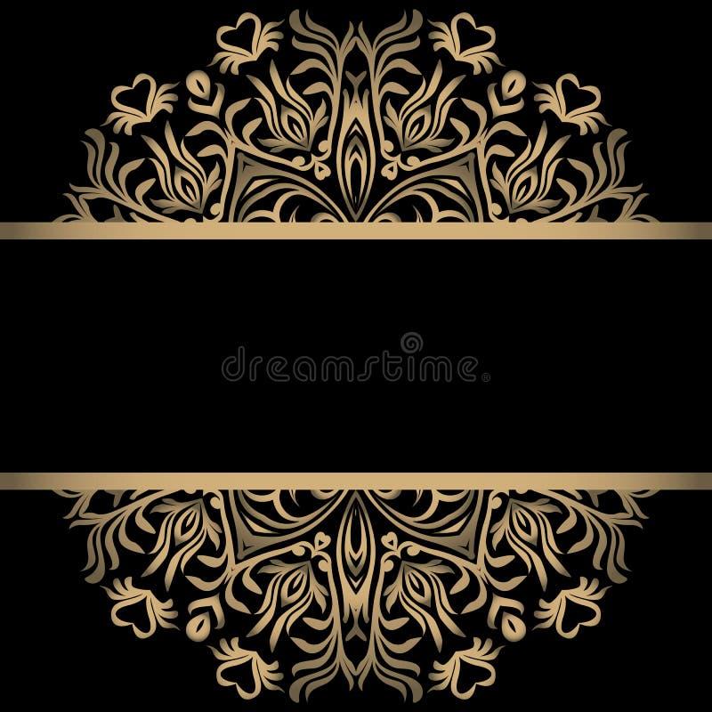 Винтажная предпосылка, антиквариат, викторианский орнамент золота, барочная рамка, красивая старая бумага, карточка, богато украш иллюстрация вектора
