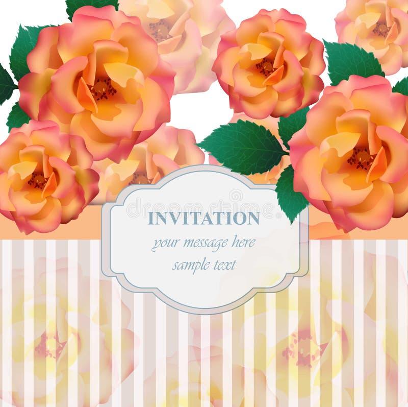 Винтажная предпосылка вектора карточки цветков роз Романтичная иллюстрация для поздравительной открытки приглашения и конструируе иллюстрация штока