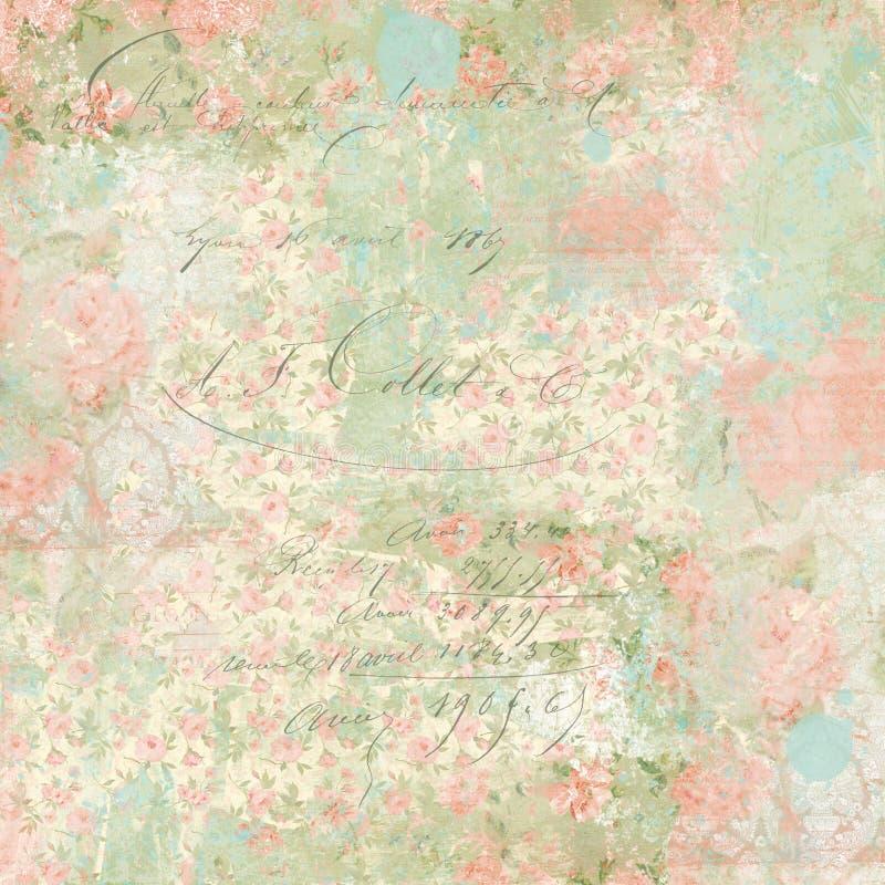 Винтажная предпосылка коллажа цветочного узора - французский Ephemera - огорченная акварелью бумага Scrapbook - Papercrafting иллюстрация штока