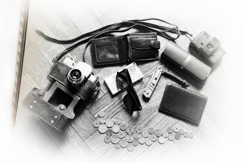 Винтажная предпосылка набора путешественника стоковое фото rf