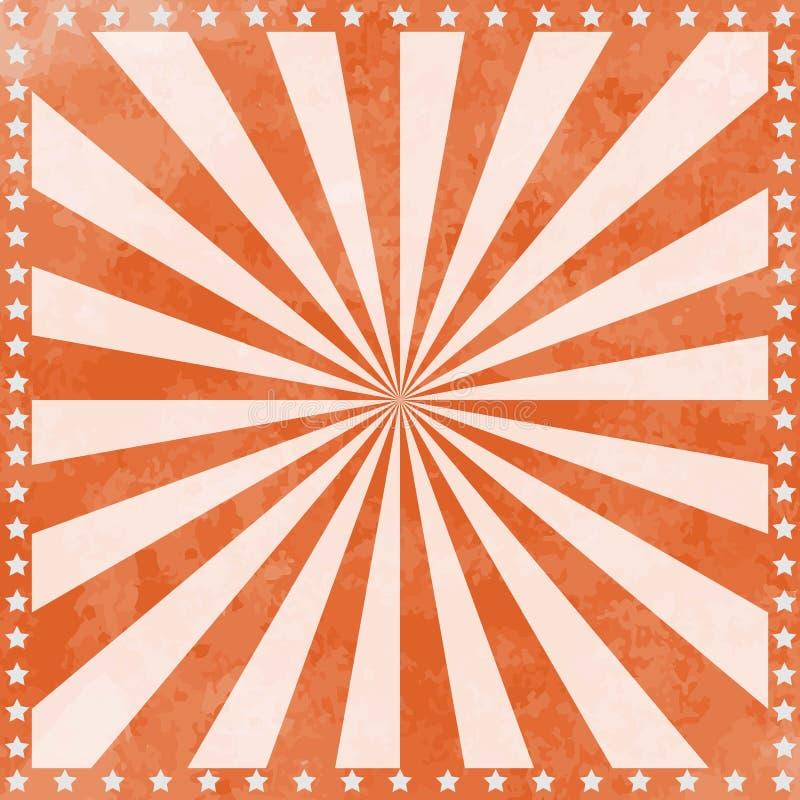 Винтажная предпосылка плаката цирка с sunburst и звездами иллюстрация вектора