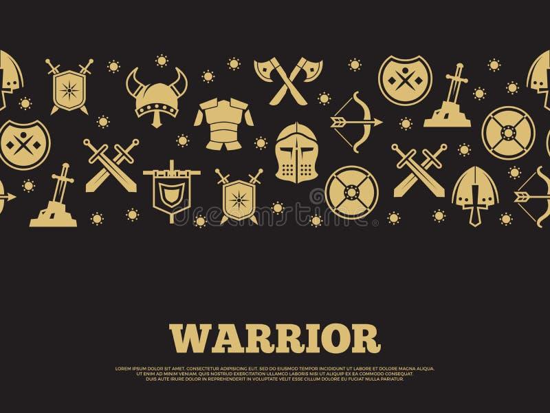 Винтажная предпосылка ратника с mediewal рыцарями silhouette значки бесплатная иллюстрация