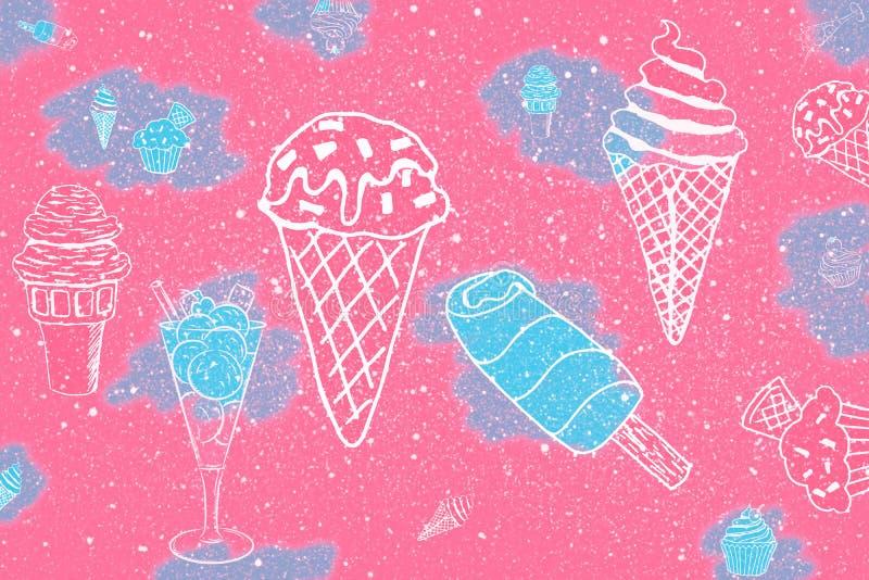Винтажная предпосылка стиля, детали партии: коктейли и мороженое иллюстрация вектора
