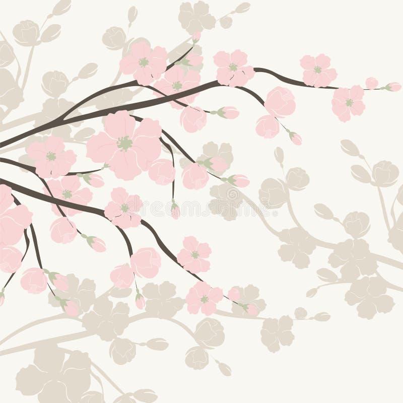 Винтажная предпосылка акварели с зацветая цветками Яблока иллюстрация вектора