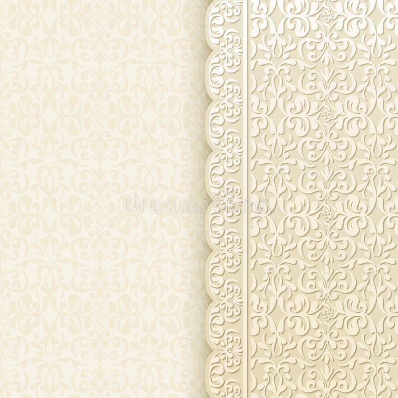 Винтажная предпосылка, античная поздравительная открытка, приглашение с шнурком иллюстрация штока