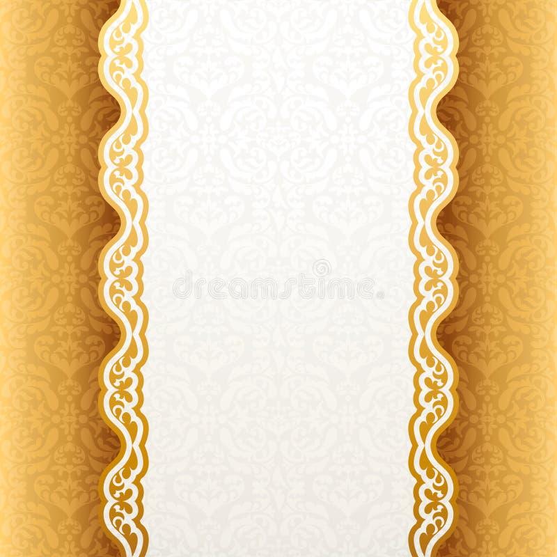 Винтажная предпосылка, античная поздравительная открытка, приглашение с шнурком бесплатная иллюстрация