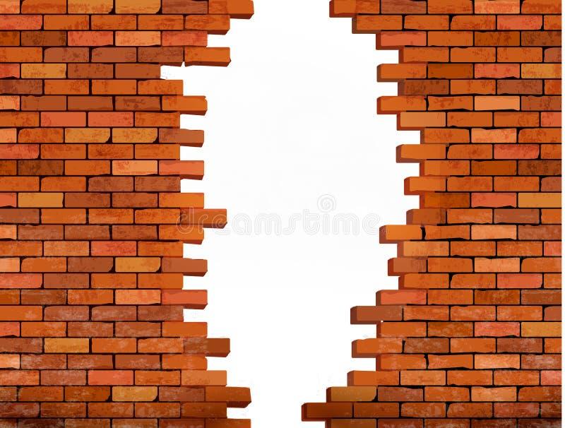 Винтажная предпосылка кирпичной стены с отверстием иллюстрация вектора