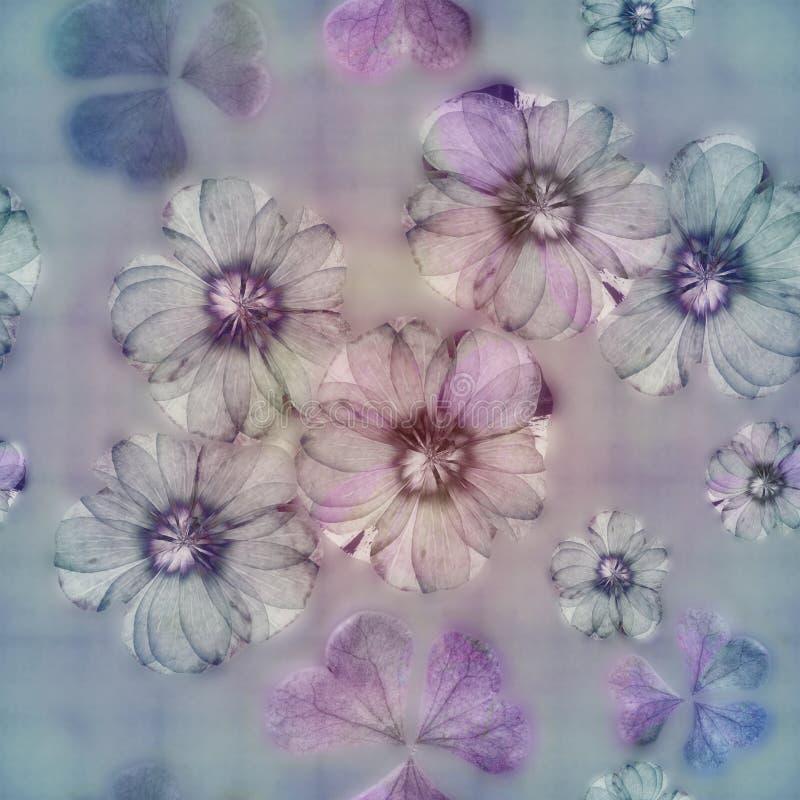 Винтажная предпосылка коллажа стиля, безшовная красочная картина для scrapbook, картина батика с бутонами цветка яблока Калейдоск иллюстрация вектора