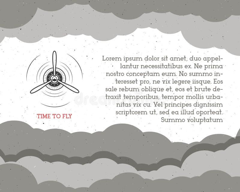Винтажная предпосылка самолета с небом Эмблема пропеллера Ярлык самолет-биплана Ретро плоские обои, элементы дизайна старо иллюстрация вектора