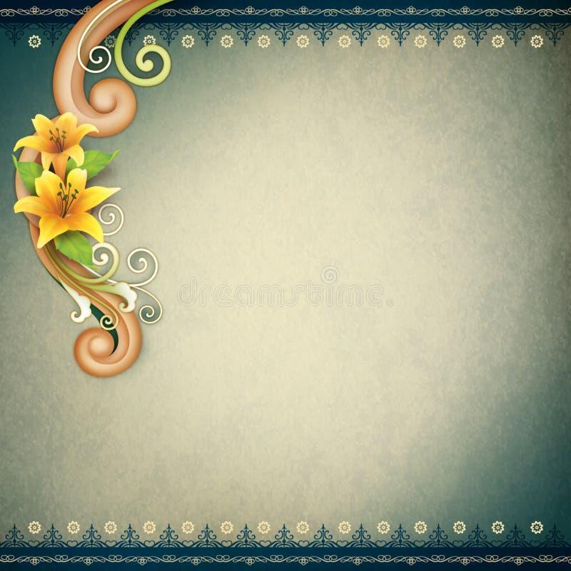 Винтажная предпосылка с орнаментальной рамкой для поздравительной открытки стоковые фотографии rf