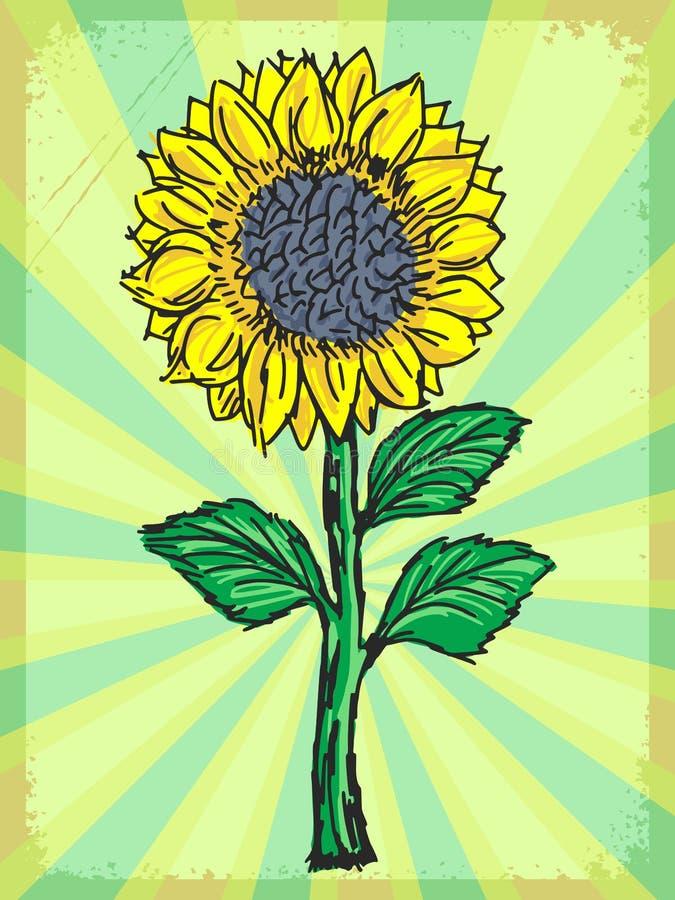 Винтажная предпосылка с солнцецветом иллюстрация штока