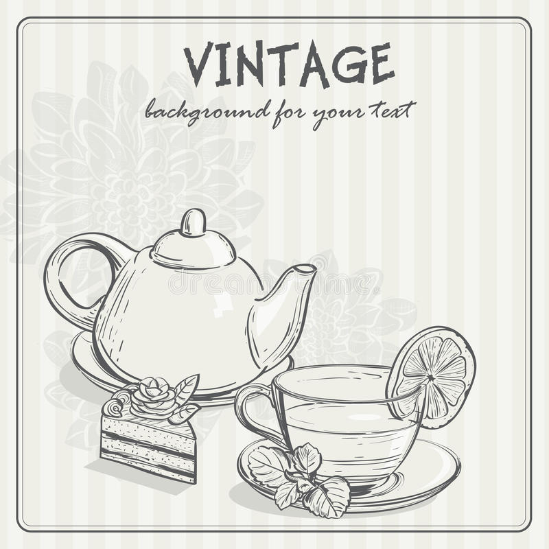 Винтажная предпосылка с чаем и торусом бесплатная иллюстрация
