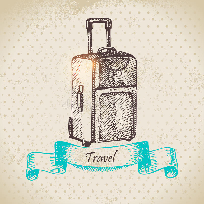 Винтажная предпосылка с чемоданом перемещения бесплатная иллюстрация