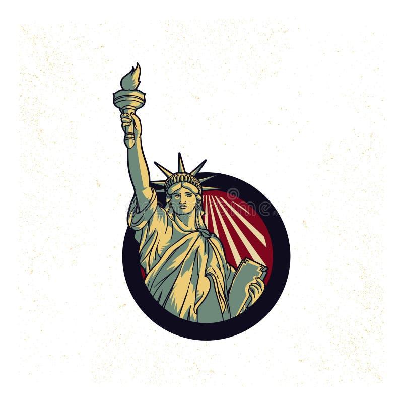 Винтажная пропаганда логотипа статуи свободы США иллюстрация штока