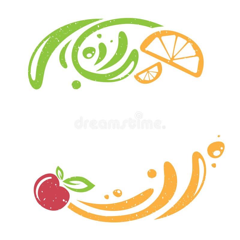 Винтажная рамка плодоовощ с брызгает бесплатная иллюстрация
