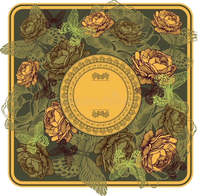 Винтажная рамка с желтыми розами и бабочками, illustra вектора бесплатная иллюстрация