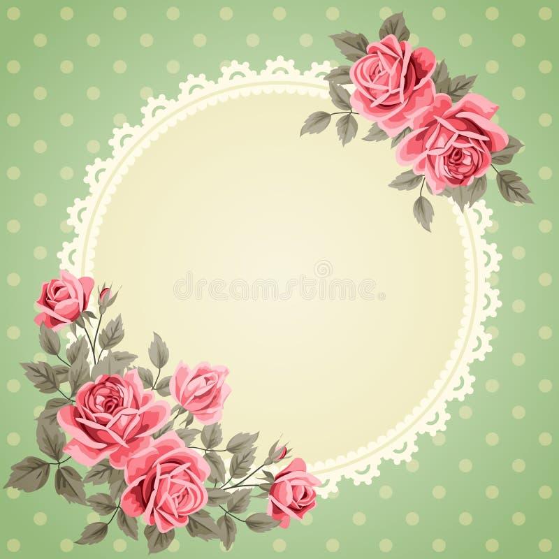 Винтажная рамка с розами бесплатная иллюстрация