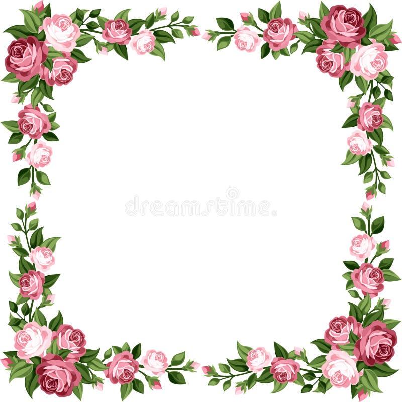 Винтажная рамка с розовыми розами. бесплатная иллюстрация