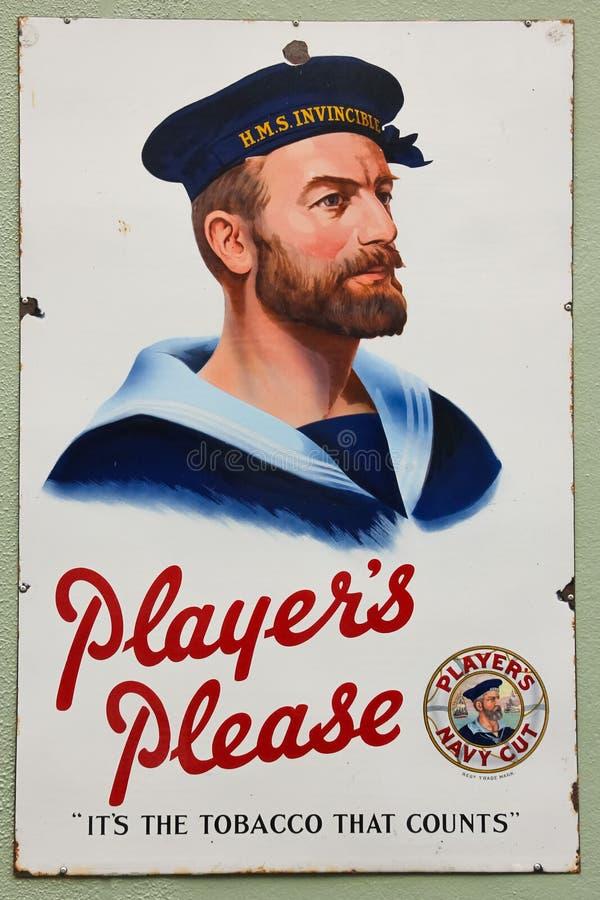 Винтажная реклама табака отрезка военно-морского флота стоковые фото