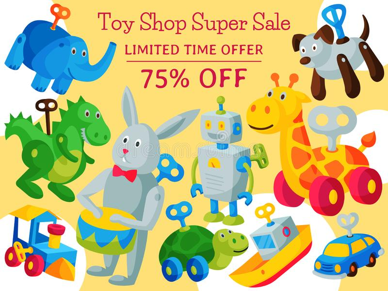 Винтажная ретро иллюстрация вектора концепции магазина младенца робота игрушки clockwork Игрушка детства античной машины ключа ро бесплатная иллюстрация