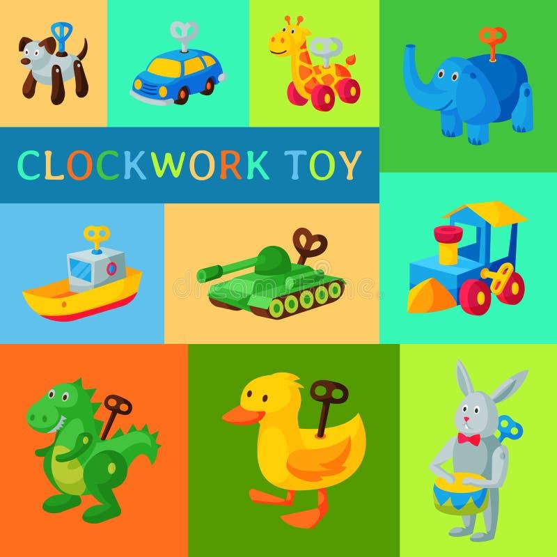 Винтажная ретро иллюстрация вектора концепции приглашения детского душа робота игрушки clockwork Античная машина ключа робототехн иллюстрация штока