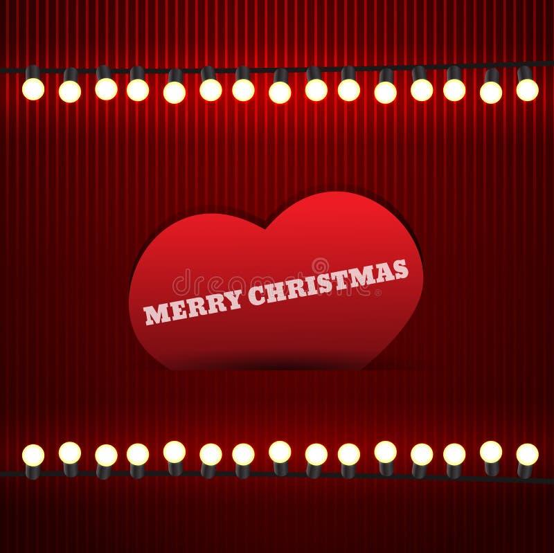Винтажная рождественская открытка с гирляндой и сердцем Иллюстрация EPS бесплатная иллюстрация