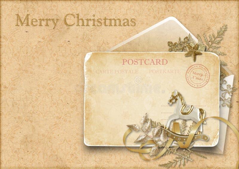 Винтажная рождественская открытка с декоративной лошадью бесплатная иллюстрация