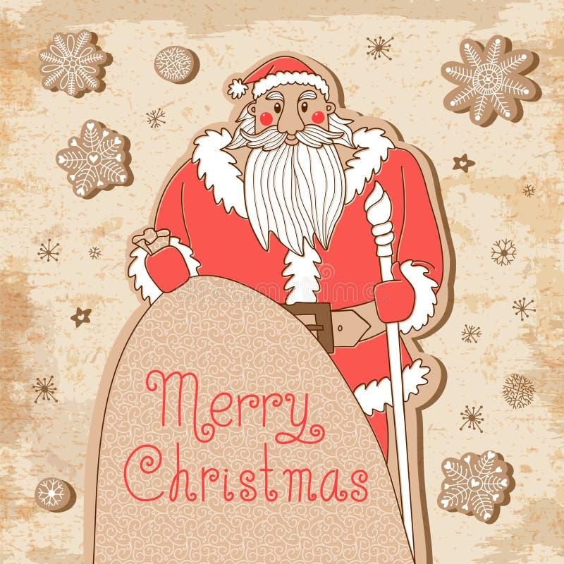 Винтажная рождественская открытка с могущественным Сантой иллюстрация вектора