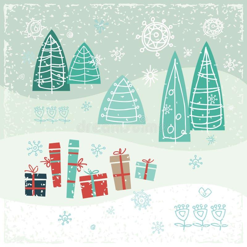Винтажная рождественская открытка с подарками, деревьями и бесплатная иллюстрация