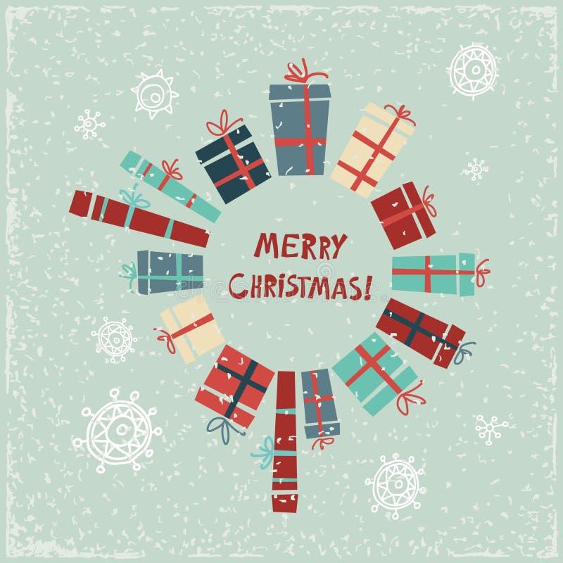 Винтажная рождественская открытка с подарками и снежинками иллюстрация штока